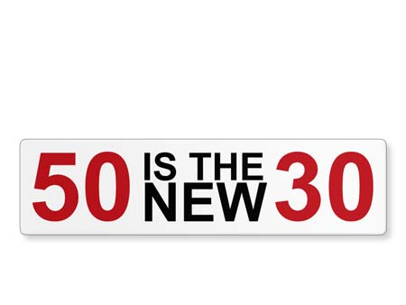Geburtstagsschild: 50 Is The New 30