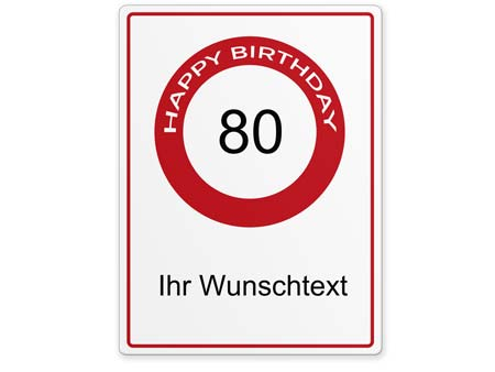 Happy-Birthday-Schild 80 Jahre