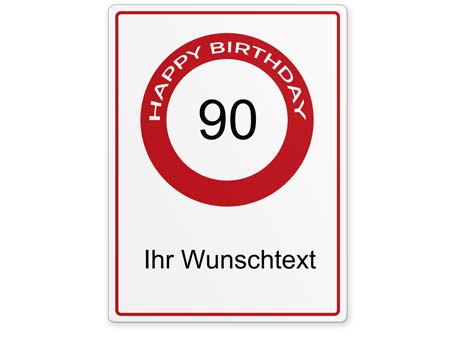 Happy-Birthday-Schild 90 Jahre