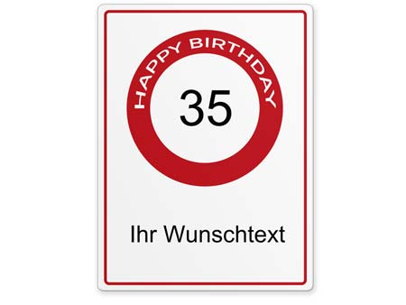 Happy-Birthday-Schild 35 Jahre